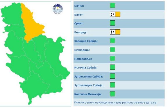 Narandžasti meteo alarm u Beogradu