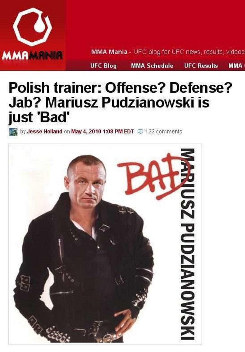 """Amerykański portal poświęcony MMA (mieszane sztuki walki) naśmiewa się z Mariusza Pudzianowskiego. Porównuje go do Michaela Jacksona z albumu płyty """"Bad"""""""