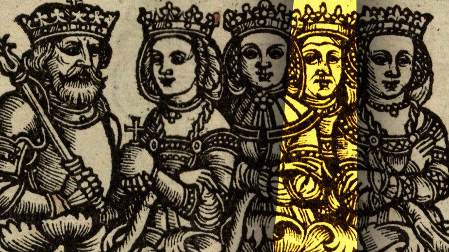 Elżbieta Granowska wśród małżonek Władysława Jagiełły. Schematyczne wyobrażenie z początku XVI stulecia