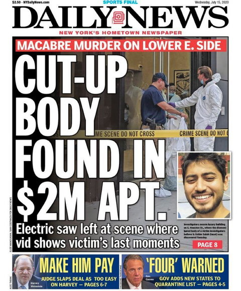 Fahim Saleh's murder is on the front cover of New York Daily News (Daily News)