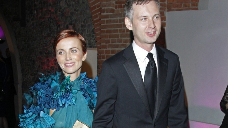 Katarzyna Zielińska z partnerem Wojciechem Domańskim na gali rozdania Wiktorów 2011.