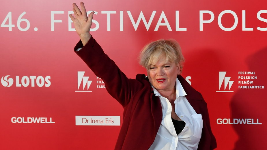 46. FPFF. Katarzyna Figura pozuje na czerwonym dywanie