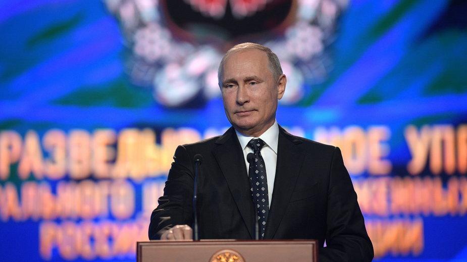 Władimir Putin przemawia przy okazji 100 rocznicy powstanie GRU