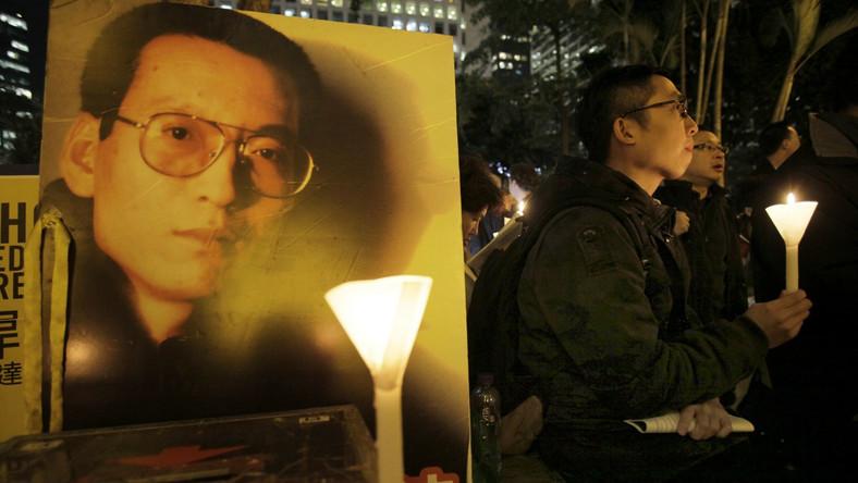 Demonstracja poparcia dla Liu Xiaobo w Hongkongu.