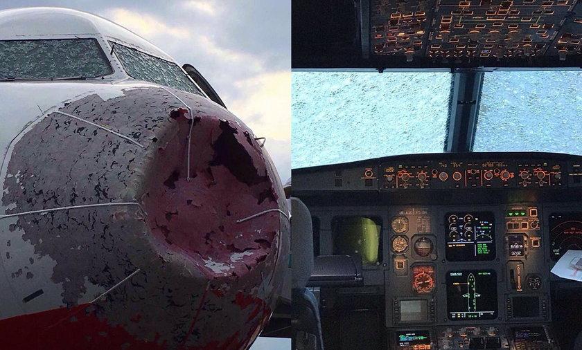 Szokujące zdjęcia! Tak wygląda samolot, który wleciał w burzę