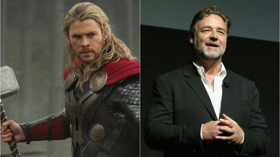 """Chris Hemsworth jako Thor w filmie """"Thor: Mroczny Świat"""" i Russell Crowe"""