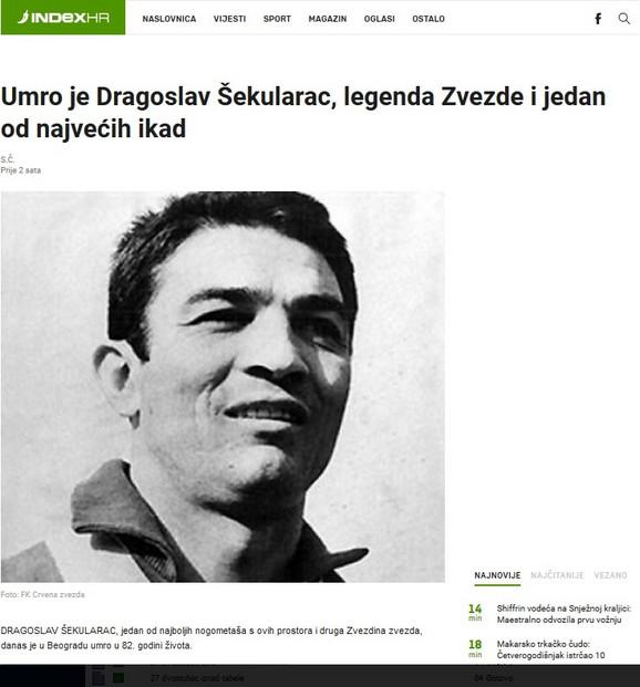 Vest o smrti Dragoslava Šekularca na portalu