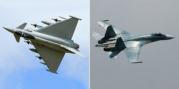 Eurofighter Typhoon FGR4 i SU-30 MKI Flanker