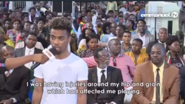 Angel Gomes was at T.B Joshua's church in 2016 to seek healing for injuries (Youtube/The Synagogue Church of all Nations)