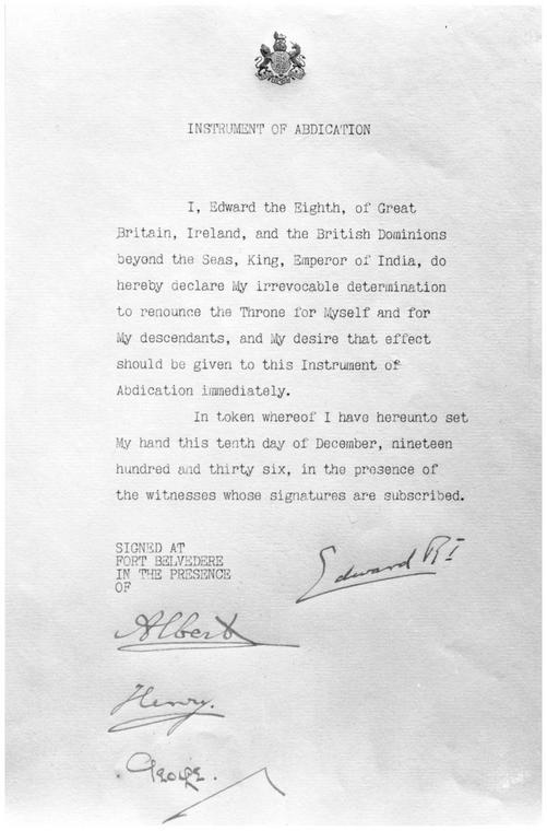 Dokument informujący o abdykacji Edwarda VIII