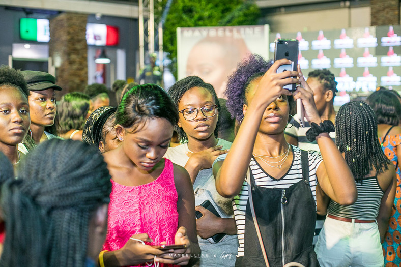 Makeup enthusiasts and fans of DJ Cuppy at the Accra Mall