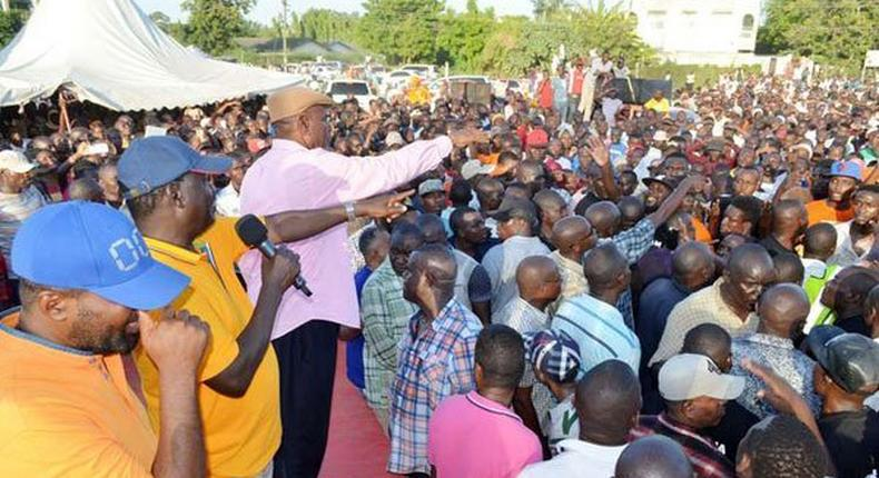 From left: ODM leaders Hassan Joho, Party leader Raila Odinga and Changamwe MP Omar Mwinyi address party supporters at Changamwe Grounds in Mombasa on January 25, 2017.