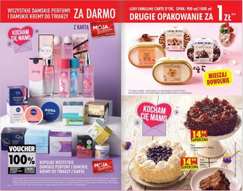 """Promocja na kosmetyki i perfumy """"wszystkie damskie perfumy i kremy do twarzy za darmo"""" obowiązuje do Dnia Matki włącznie"""