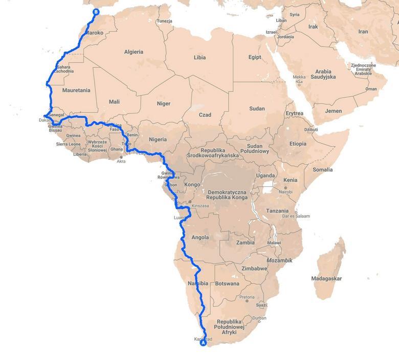 Wyprawa elektrycznym Nissanem Leaf do Afryki – trasa