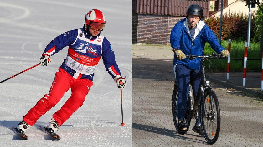 Zapalony narciarz i miłośnik rowerowych przejażdżek