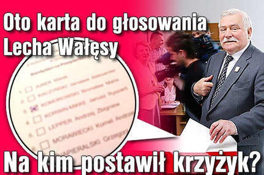 Oto karta do głosowania Wałęsy. Na kim postawił krzyżyk?