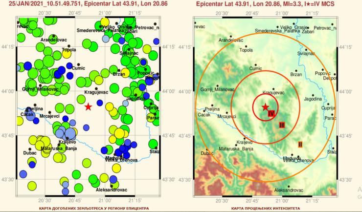 zemljotres, mapa, kragujevac