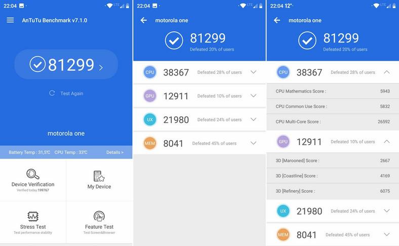 Motorola One - AnTuTu Bechmark