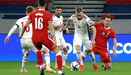 Attila Szalai (2nd R) will have his work cut out as Hungary come up against Portugal, France and Germany in Group F Creator: Peter Kohalmi