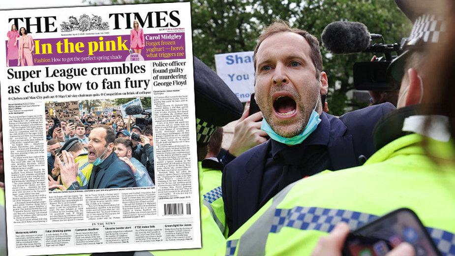 "Petr Cech i okładka ""The Times"""