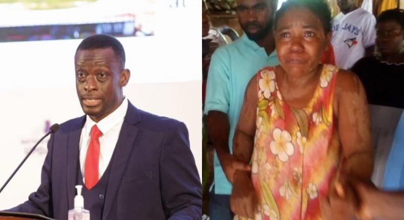 Western Region Minister, Kwabena Otchere Darko-Mensah(left) and the pregnant woman