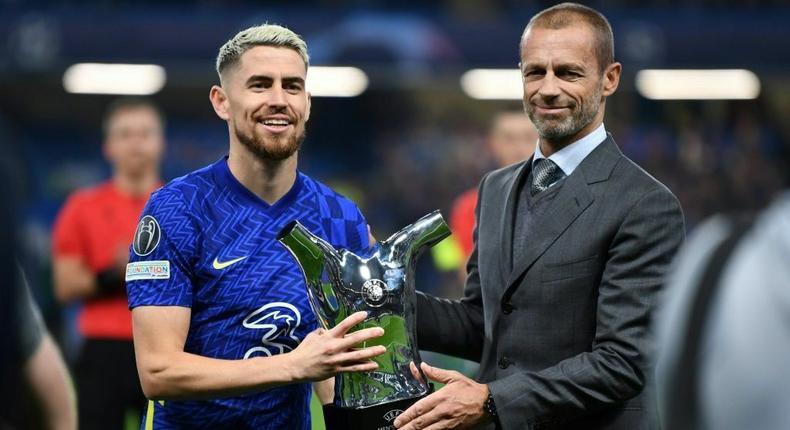 Chelsea midfielder Jorginho is presented with the UEFA men's player of the year award Creator: DANIEL LEAL-OLIVAS