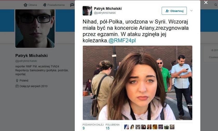 Zamach w Manchesterze. Nihab żyje, bo zrezygnowała z koncertu