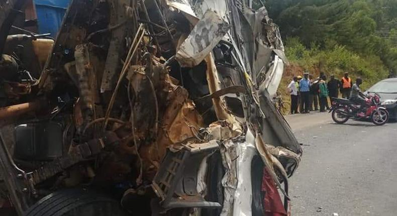 Wreckage of one of the lorries involved in the accident at Maseno