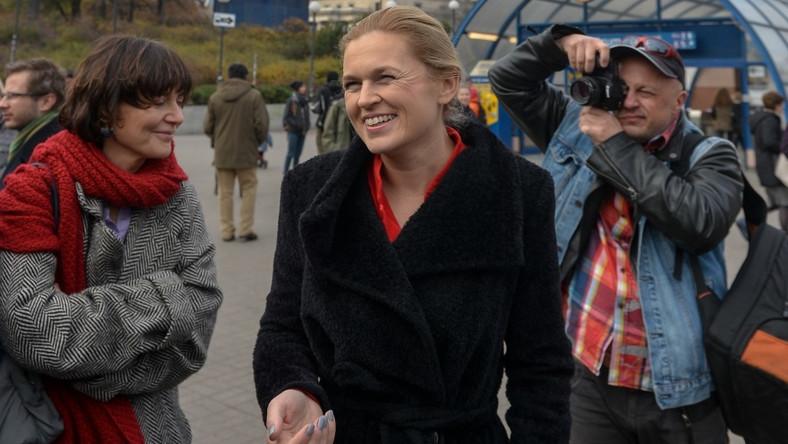 Liderka Zjednoczonej Lewicy pojawiła się wczoraj w centrum Warszawy na konferencji prasowej...