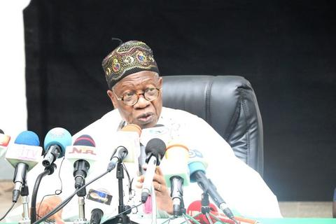Information Minister, Lai Mohammed, speaking at the launch of the campaign to rally support for the military.