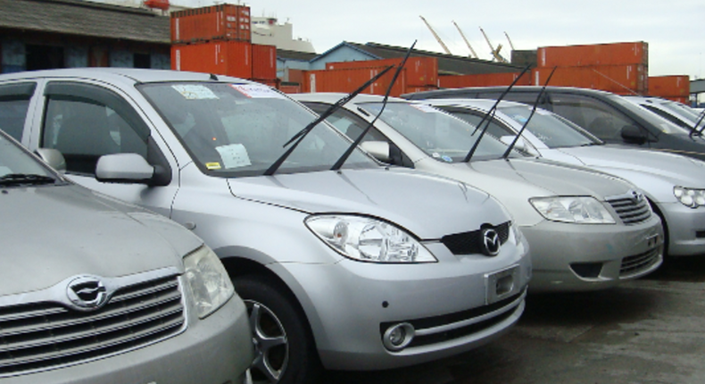 Cars awaiting clearance outside one of the sheds at Mombasa port.