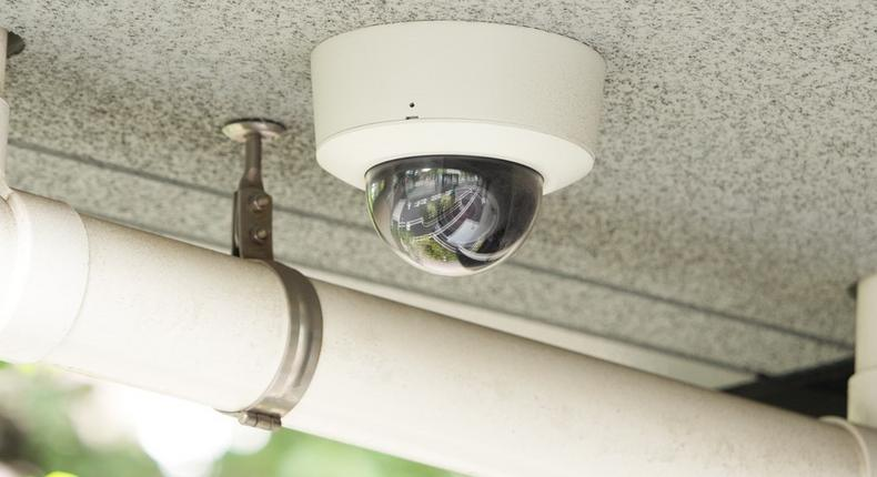 A CCTV camera mounted in a residential building