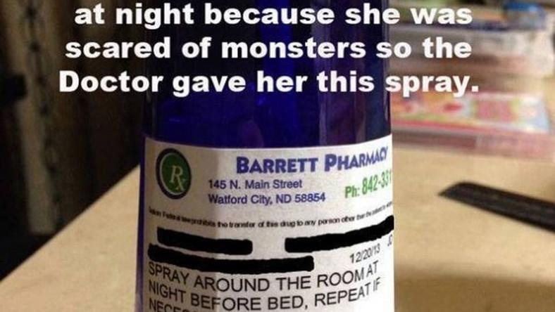 Spray na potwory - taki specyfik przeznaczony dla dzieci, które boją się zasnąć sprzedaje mała amerykańska apteka
