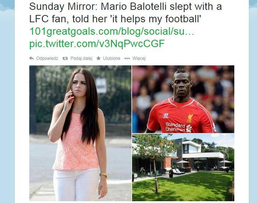 """Mario Balotelli znów zaszokował! przespał się z fankę The Reds by """"Lepiej mu się grało!"""""""