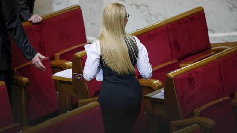 Ukrainian former Prime Minister and leader of Batkivshchyna party Tymoshenko leaves a parliament session in Kiev