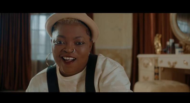 Funke Akindele-Bello plays the dual role of Lefty and Ayomide in 'Omo Ghetto' (The Saga) [YouTube]