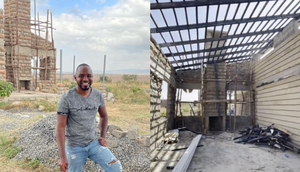 Activist Boniface Mwangi at the construction site of his Machakos family home. The house was invaded on the night of October 20, 2021