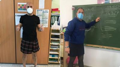 Nauczyciele założyli spódnice, aby wesprzeć ucznia