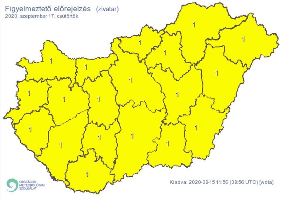 Minden megyében előfordulhat villámlással, jégesővel és szélerősödéssel járó zivatar / Grafika: Met.hu