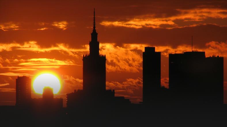 Widok na panoramę centrum Warszawy w 2008 roku