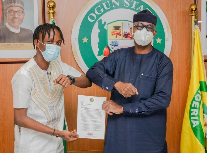 Laycon meets Gov Abiodun at Govt House Abeokuta (Daily Post)