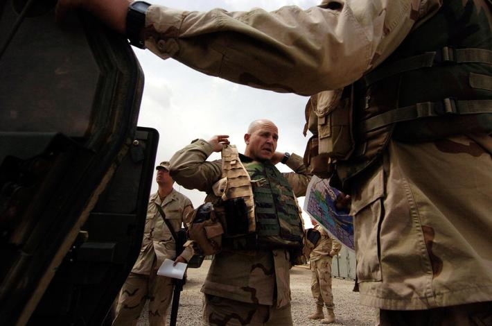 APRIL 09, 2005 - BABIL PROVINCE,IRAQ_ RECON_Col H. R. McMaster, Commander of the 3rd ACR readies to
