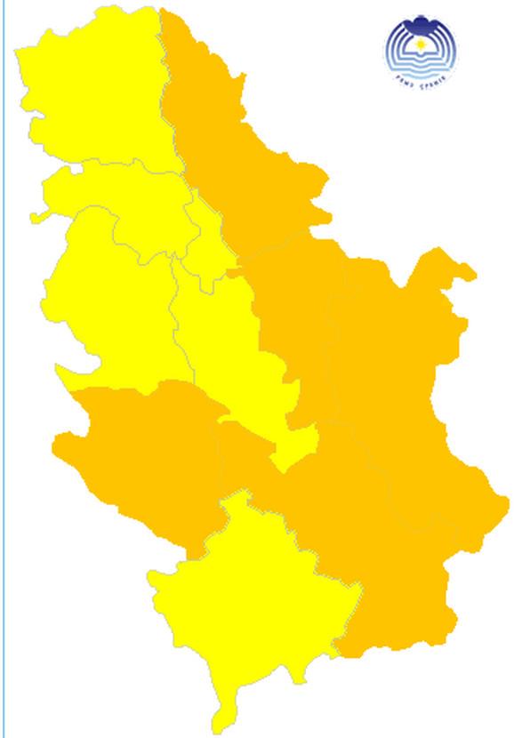 Veći deo Srbije danas je pod narandžastim meteoalarmom