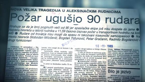 Naslov u novinama nakon tragedije