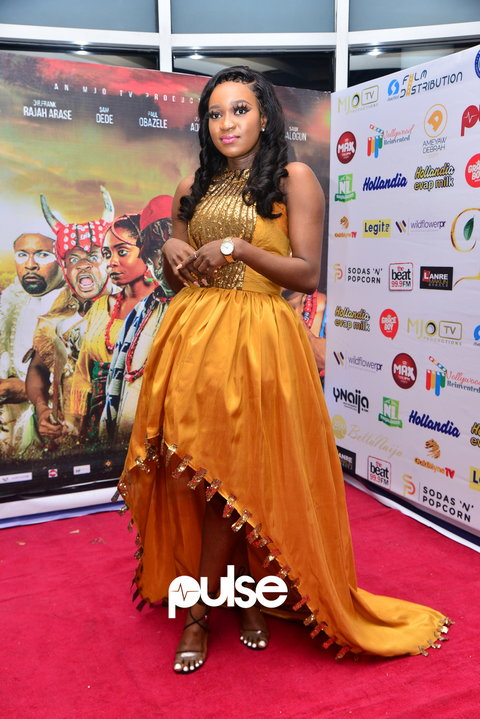 Reality TV star and former housemate at the recently concluded edition of Big Brother Naija, Thelma, at the film premiere [PULSE]