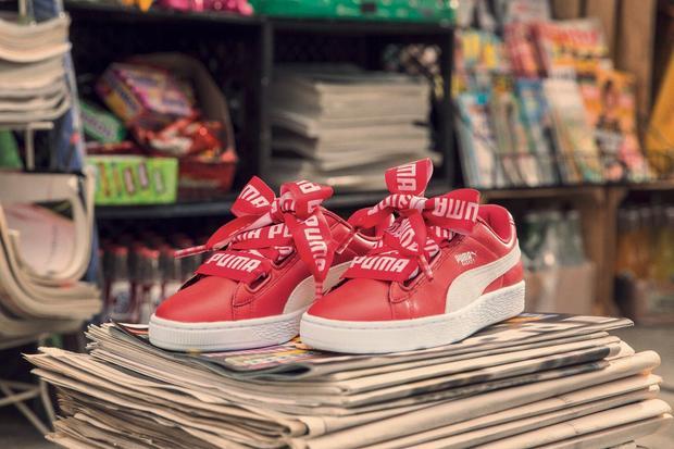 puma basket heart czerwone