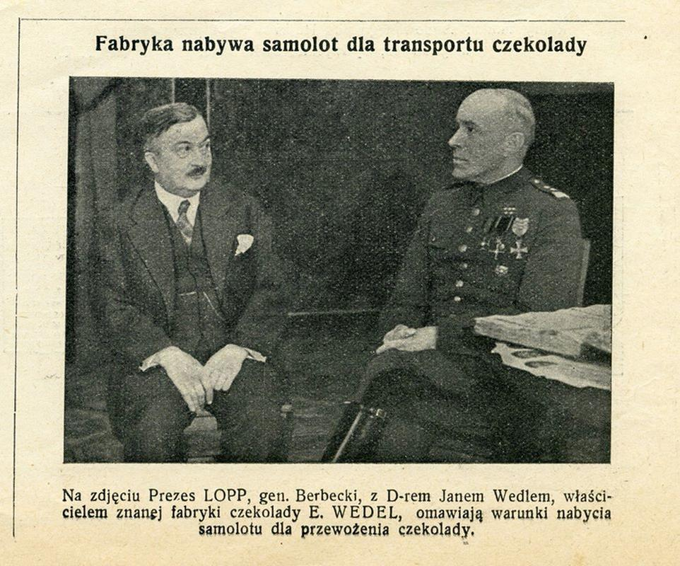 Informacja o nabyciu samolotu RWD-13 przez firmę Jana Wedla, opublikowana w 1936 r. w Kurierze Warszawskim