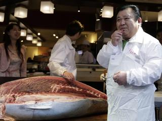 A bluefin tuna sold for the amount of 14 million yen is served at the Sushizanmai sushi restaurant in Tokyo