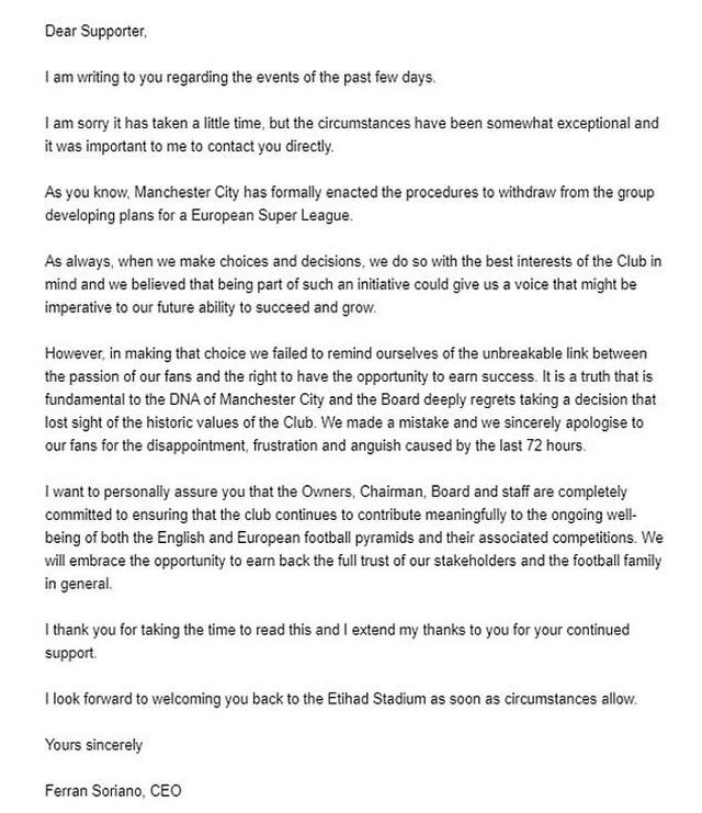 Sitijevo pismo navijačima