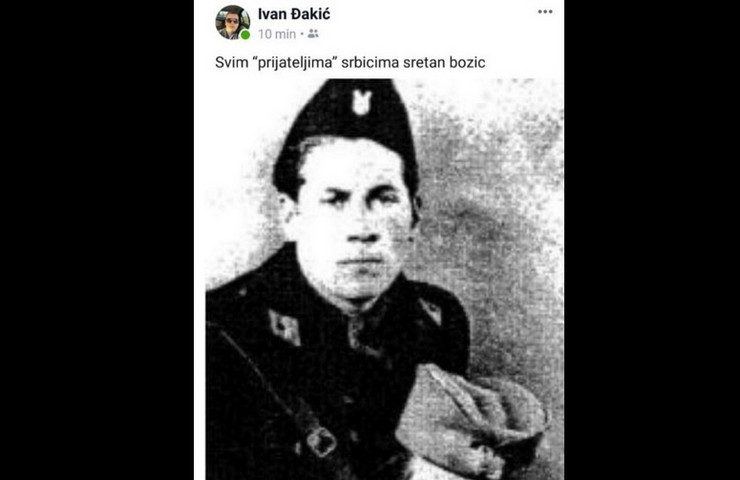 slika Ivan Đakić sin poslanika HDZ objava Fejsbuk, ustaša drži glavu srpskog vojnika prtscn
